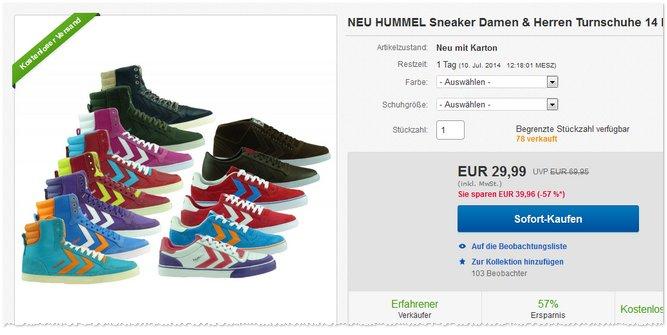 Hummel Sneaker billig kaufen