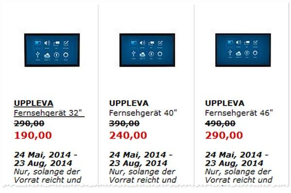 IKEA Uppleva Fernseher-Ausverkauf