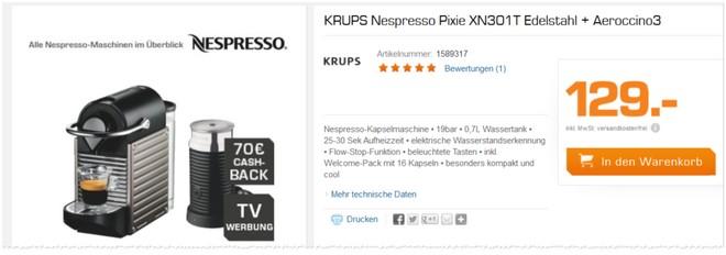 Krups Nespresso Pixie XN301T Saturn Werbung