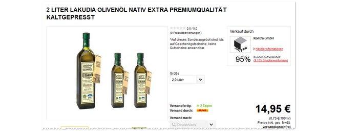 Lakudia Olivenöl Preis
