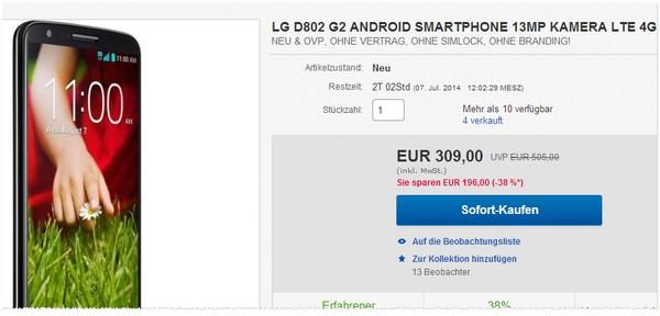 LG G2 D802 ohne Vertrag kaufen