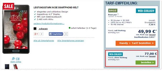 LG Optimus L7 II bei The Phone House ohne Vertrag für 77 €