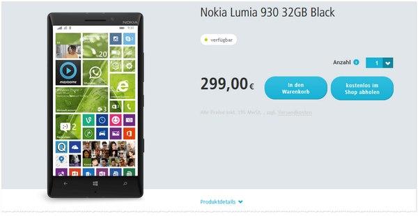 Lumia 930 ohne Vertrag