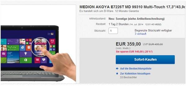 Medion Akoya E7226T MD 99310
