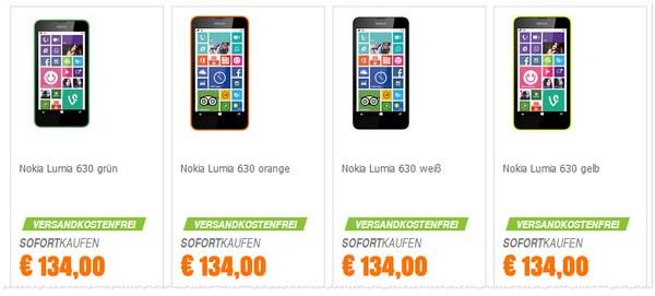 Nokia Lumia 630 Preis ohne Vertrag