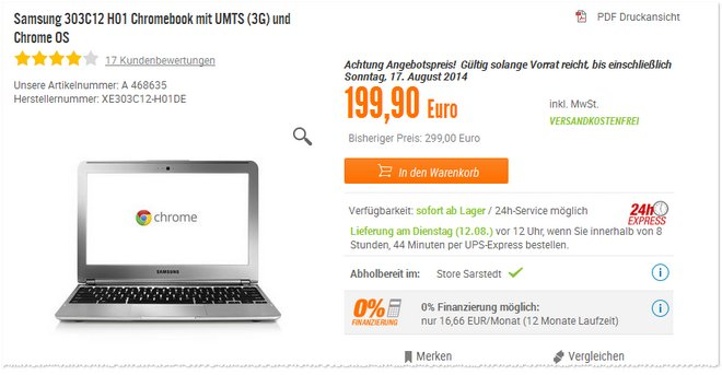 Samsung Chromebook UMTS 3G