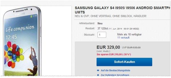 Samsung Galaxy S4 Angebot ohne Vertrag