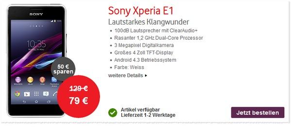 Sony Xperia E1 bei den Vodafone CallYa Deals für 79 €