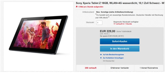 Sony Xperia Tablet Z als B-Ware