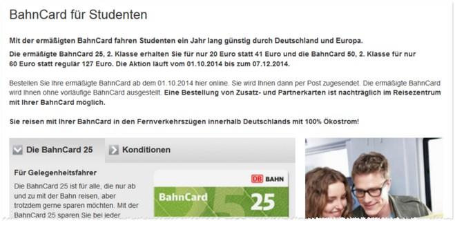 Studenten-BahnCard ermäßigt