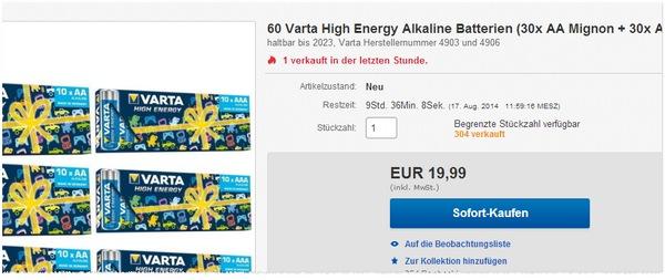 Varta Alkaline Batterien kaufen