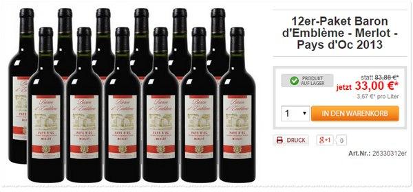 Weinvorteil Merlot Angebot Baron d'Embleme