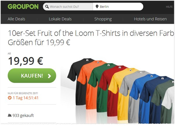 10 Fruit of the Loom Shirts bei Groupon