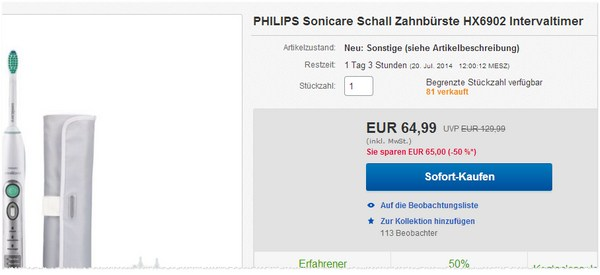 Philips Sonicare Flexcare HX 6902