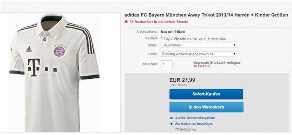 Adidas FC Bayern Away-Trikot 2013/14