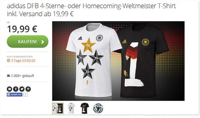 Adidas Weltmeister T-Shirt günstiger