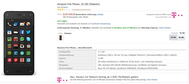 Amazon Fire Phone ohne Vertrag Telekom SIM-Lock