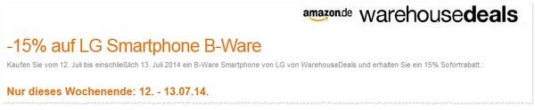 Amazon Warehouse Deals Gutschein mit 15% Rabatt auf LG-B-Ware-Handys