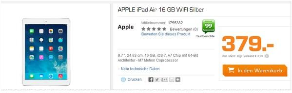 Apple iPad Air als Saturn-Tagesangebot für 379 €