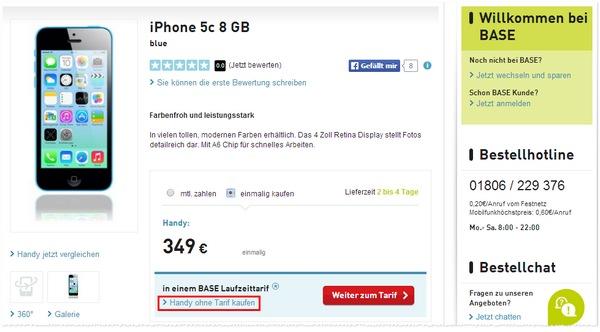 Apple iPhone 5C kaufen bei BASE für 349 €