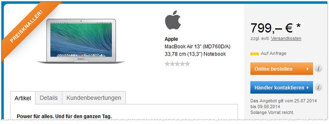 MacBook Air MD760D/A günstiger