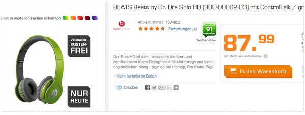 Beats by Dre Solo HD Saturn Angebot