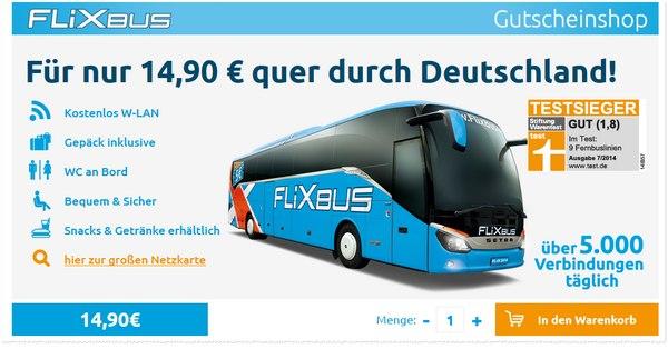 Flixbus Gutschein für 14,90 Euro