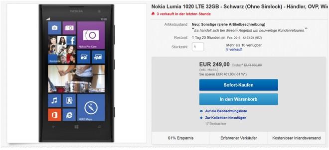 gebrauchtes Nokia Lumia 1020