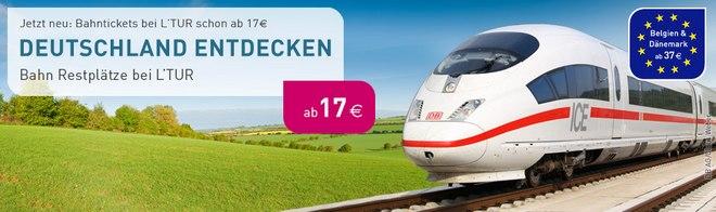 Günstige ICE Bahn-Tickets bei LTUR ab 17 €