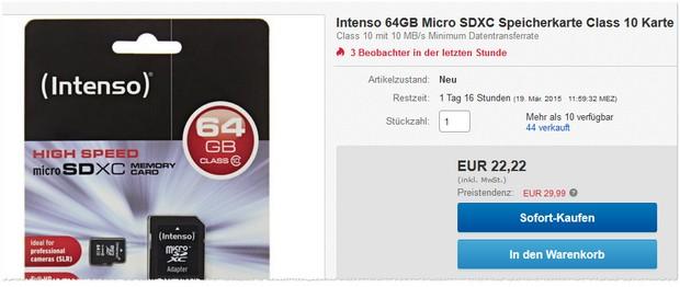 Intenso Speicherkarte mit 64 GB Speicher