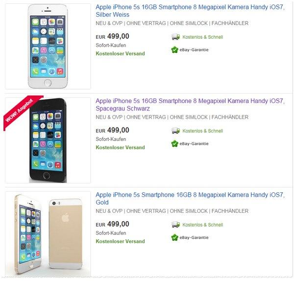 iPhone 5S ohne Vertrag Angebote