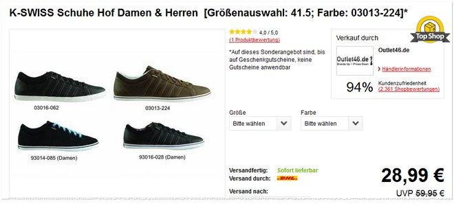 K-Swiss Sneaker Hof Angebot
