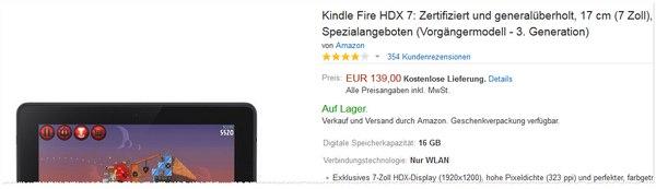 Kindle Fire HDX generalüberholt und zertifziert bei Amazon für 139 €