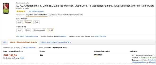 LG G2 mit 32GB ohne Vertrag