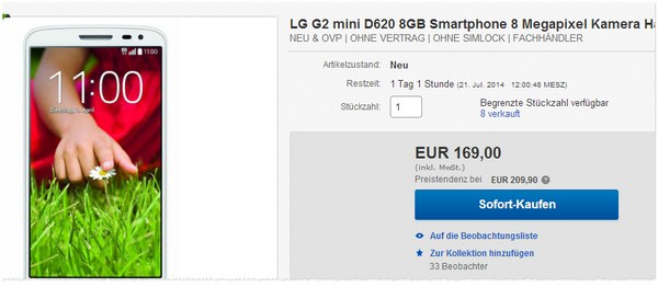 LG G2 mini ohne Vertrag kaufen