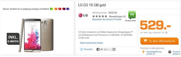 LG G3 ohne Vertrag mit G-Watch als Saturn Angebot für 529 €
