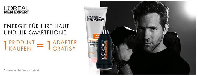 L'Oréal Paris Men Expert USB-Adapter gratis