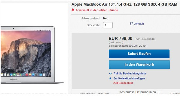 MacBook Air 13 Zoll bei Gravis