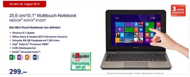 Medion Akoya E1232T ALDI Notebook