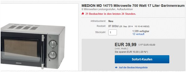 Medion Mikrowelle MD 14775
