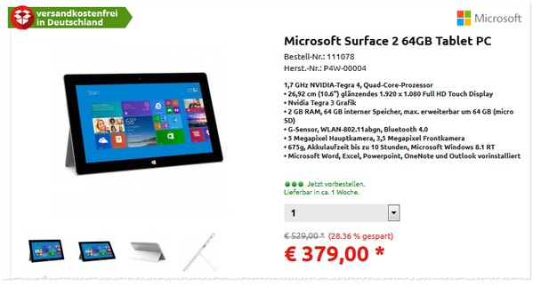 Microsoft Surface 2 (64 GB) Angebot