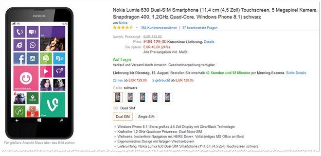 nokia lumia 630 single sim f r 69. Black Bedroom Furniture Sets. Home Design Ideas