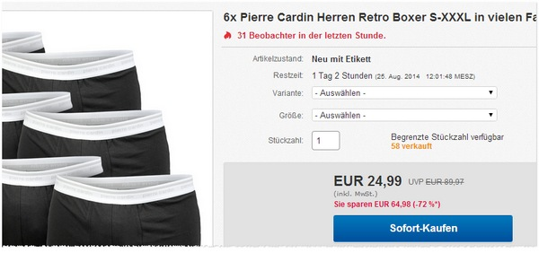 Pierre Cardin Boxer Angebote