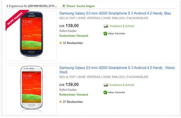 Samsung Galaxy S3 mini i8200 ohne Vertrag
