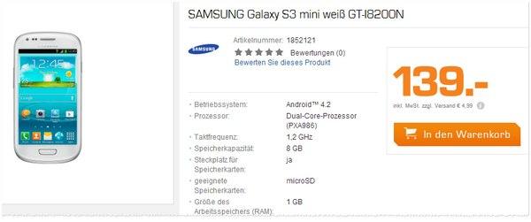 Samsung Galaxy S3 mini ohne Vertrag GT-I8200n
