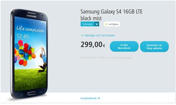 Samsung Galaxy S4 Angebot bei Smartkauf