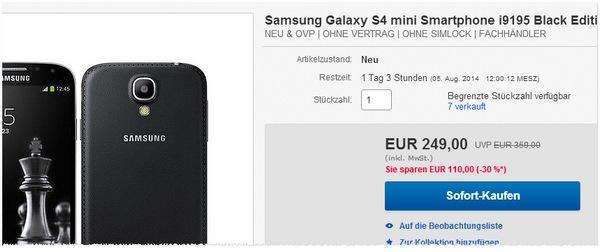 Samsung Galaxy S4 mini ohne Vertrag Black Edition