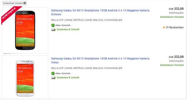 Samsung Galaxy S4 ohne Vertrag kaufen