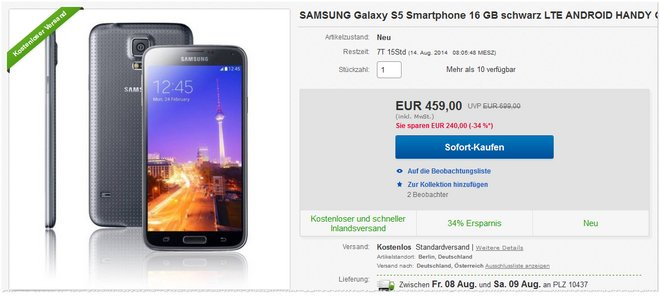 Samsung Galaxy S5 günstiger