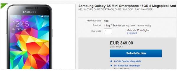 Samsung Galaxy S5 mini ohne Vertrag kaufen
